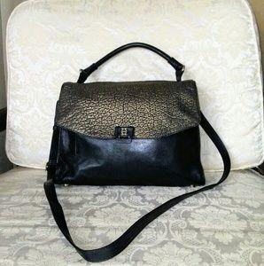 Joy gryson black and gold crossbody leather bag